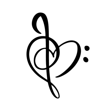 Llave de música y corazón abstracto icono y logotipo vectorial dibujado a mano. Plantilla de diseño plano de tema musical. Aislado en el fondo blanco.