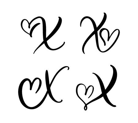 Vector Set of Vintage floral letter monogram X. Calligraphy element Valentine flourish. Hand drawn heart sign for page decoration and design illustration. Love wedding card for invitation.