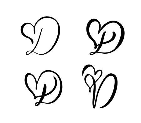 Vector Set of Vintage floral letter monogram D. Calligraphy element Valentine flourish. Hand drawn heart sign for page decoration and design illustration. Love wedding card for invitation. Stock Illustratie