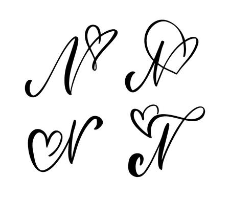 Vektor-Set Vintage floral Briefmonogramm N. Kalligraphie-Element Valentinsgruß gedeihen. Handgezeichnetes Herzzeichen für Seitendekoration und Designillustration. Liebeshochzeitskarte für die Einladung.