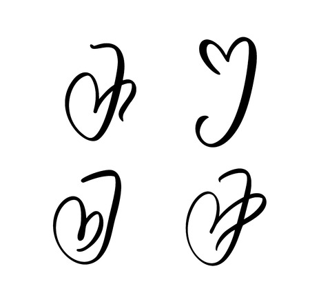 Vector Set of Vintage floral letter monogram J. Calligraphy element Valentine flourish. Hand drawn heart sign for page decoration and design illustration. Love wedding card for invitation. Vektoros illusztráció