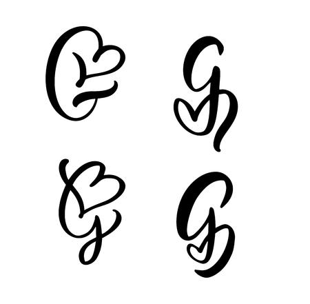 Vector Set of Vintage floral letter monogram G. Calligraphy element Valentine flourish. Hand drawn heart sign for page decoration and design illustration. Love wedding card for invitation.