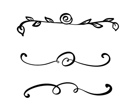 Collection of handdrawn dividers or borders made with brush and ink. Unique swirls for your design of book, handmade wedding album. Vector illustration. Ilustração