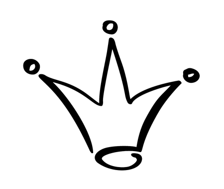 Hand drawn symbol of a stylized crown. Drawn with a black ink and brush. Vector illustration isolated on white. Logo design. Grunge brush stroke.
