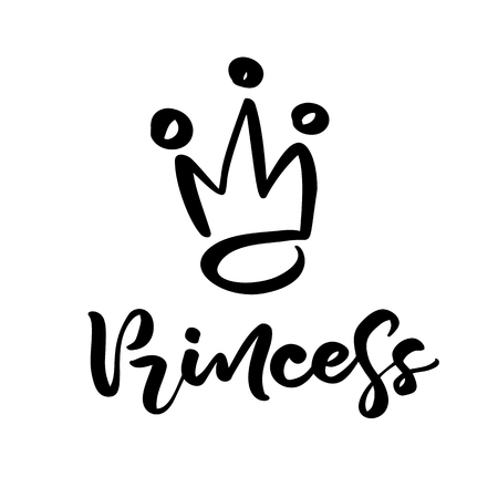 Hand drawn symbol of a stylized crown and calligraphic word Princess. Vector illustration isolated on white. Logo design. Ilustração