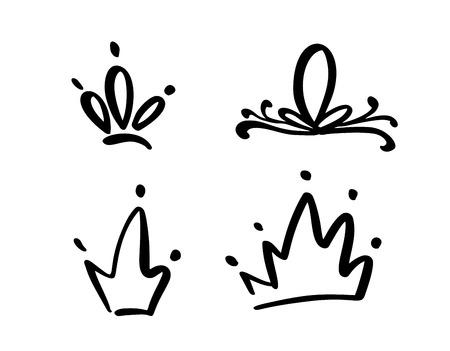 Ensemble de symboles dessinés à la main d'une couronne stylisée. Dessiné à l'encre noire et au pinceau.