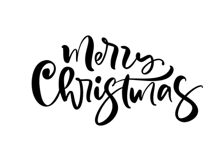 Merry Christmas calligraphic hand drawn lettering text. Vector illustration Xmas calligraphy on white background. Isolated element for banner postcard, poster design greeting card.