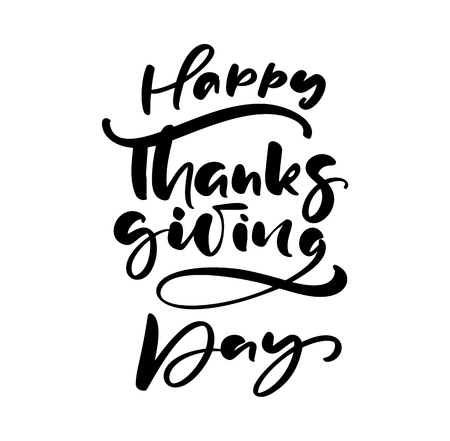 Happy thanksgiving day brush hand drawn lettering and calligraphy, isolated on white background. Calligraphic vector illustration. for holiday type design. Banque d'images - 124803310