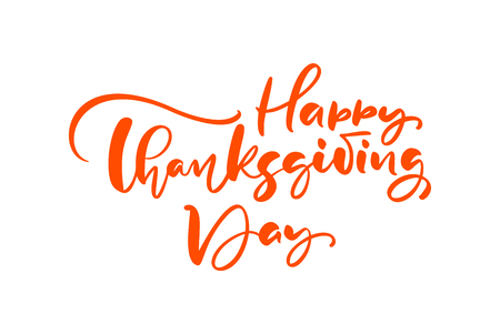 Happy thanksgiving day brush hand drawn lettering and calligraphy, isolated on white background. Calligraphic vector illustration. for holiday type design. Banque d'images - 124803306
