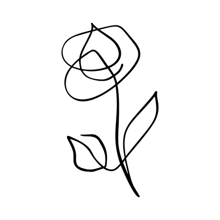 Continuous line hand drawing calligraphic vector flower rose concept beauty. Scandinavian spring floral design element in minimal style. black and white. Фото со стока
