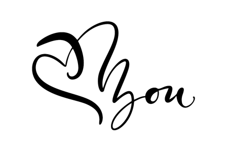 I love you. I heart you. Vector Valentines day calligraphy text for greeting card. Hand drawn design elements. Handwritten modern brush lettering.