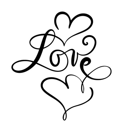 Love - calligraphic vector text with romantic hearts. Handwritten ink lettering valentine concept. Modern brush calligraphy, Isolated on white background.