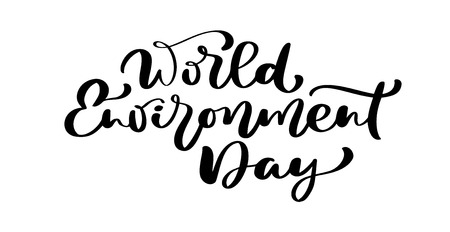 World environment day hand lettering text for cards, posters etc. Vector calligraphy illustration on white background. Reklamní fotografie