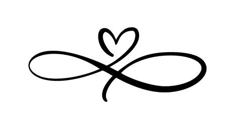 Liebesherz Im Zeichen der Unendlichkeit. Melden Sie sich auf der Postkarte zum Valentinstag, Hochzeitsdruck an. Vektorkalligraphie und Beschriftungsillustration lokalisiert auf einem weißen Hintergrund.