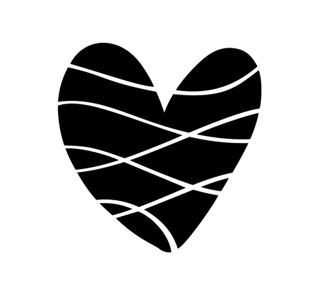 Vector illustration scandinavian Heart in style of minimalism. Romantic calligraphy vector love sign. Hand drawn icon for valentines day. Concept symbol for greeting card, poster wedding.