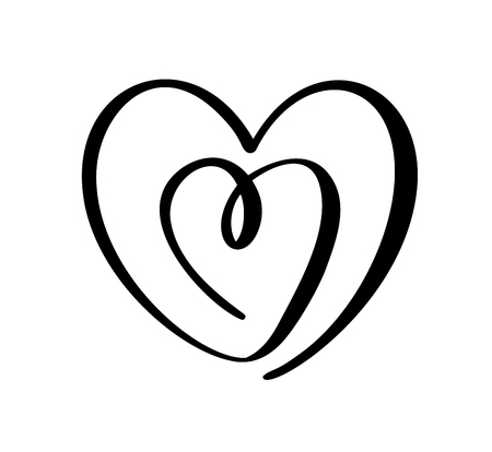 Romantic calligraphy vector Heart love sign. Hand drawn icon of valentine day. Concepn symbol for t-shirt, greeting card, poster wedding. Design flat element illustration.
