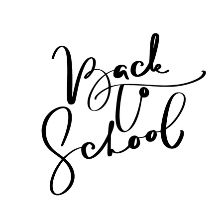 Back to school hand brush calligraphy lettering text. Education inspiration phrase for study. Drawn design vector illustration. Çizim