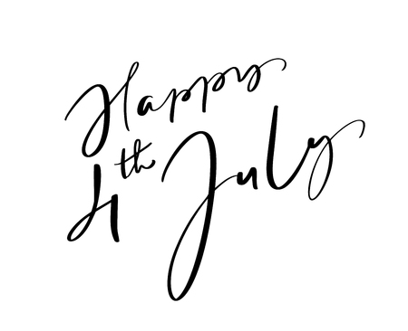 Hand drawn vector lettering text Happy 4 th July. Illustration calligraphy phrase design for greeting card, poster, T-shirt.