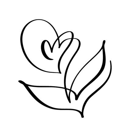 Vector brush flower. Valentines Day Hand Drawn icon. Holiday sketch doodle Design plant element valentine. love decor for web, wedding and print. Isolated illustration. Ilustração