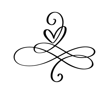 Love word In the sign of infinity. Sign on postcard to Valentines day, wedding print. Vector calligraphy and lettering illustration isolated on a white background.