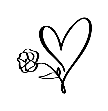 Hand drawn Heart and flower love sign. Romantic calligraphy illustration vector for valentines day and wedding. Concept icon symbol for t-shirt, greeting card, poster. Ilustração