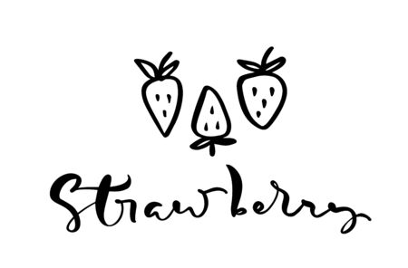Hand drawn calligraphy text Strawberry and three outline doodle icons of strawberry.