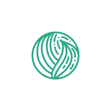 Organic plant green leaves  . Round bio emblem in a circle linear style. Vector abstract badge for design of natural products, flower shop, cosmetics, ecology concepts, health, spa, yoga Center Çizim