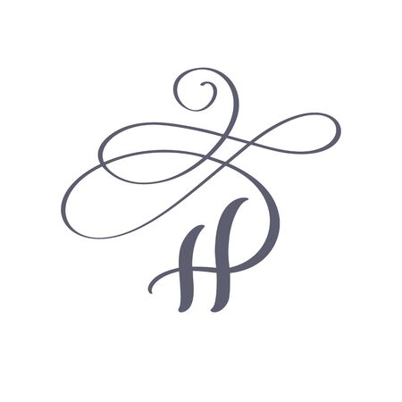 Vector Hand Drawn calligraphic floral H monogram. Uppercase Hand Lettering Letter H with swirls and curl. Wedding Floral Design