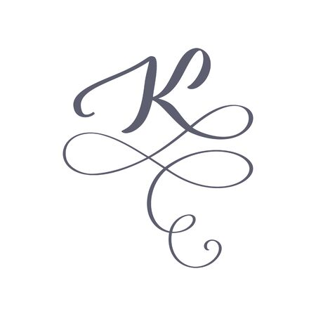Vector Hand Drawn calligraphic floral K monogram. Uppercase Hand Lettering Letter K with swirls and curl. Wedding Floral Design
