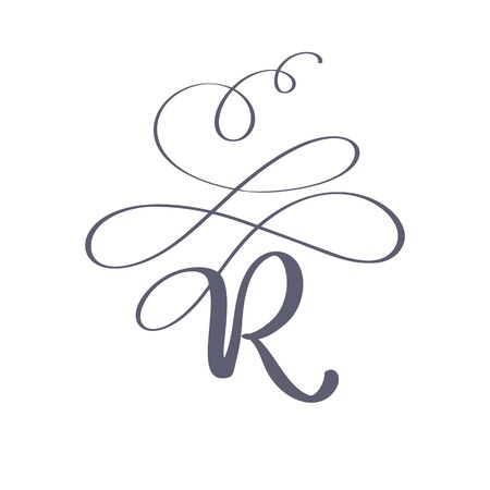 Vector Hand Drawn calligraphic floral R monogram or logo. Uppercase Hand Lettering Letter R with swirls and curl. Wedding Floral Design
