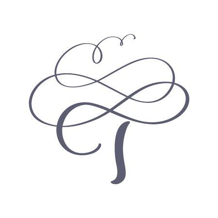 Vector dibujado a mano monograma o logotipo floral caligráfico T. Letras de mano mayúsculas letra T con remolinos y rizo. Diseño Floral De Boda