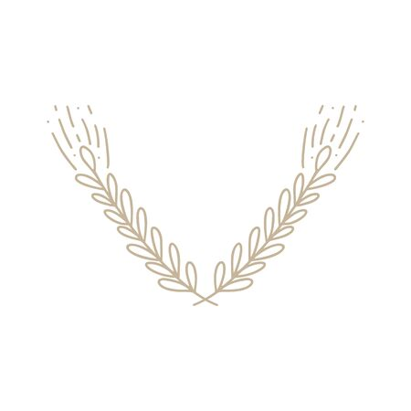 Vector of wheat ears. Simple monoline botanical hand drawn illustration of spikelets isolated on white background in doodle style. Sketch of cereal for bakery and other design.