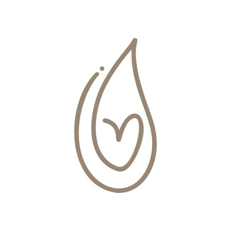 calligraphy monoline vector Heart with drop of water. Hand drawnlove sign icon of eco design. Concepn symbol for t-shirt, greeting card, poster. flat element illustration
