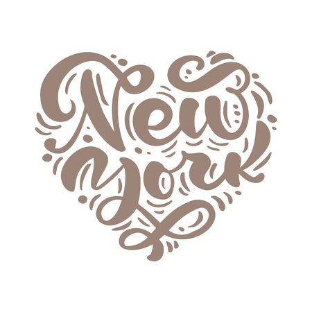 New york city calligraphy text in form of heart. NY isolated. NYC label. Vintage badge in scandinavian style. Great for t-shirts or poster