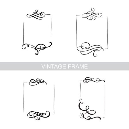 Decorative frame set with old filigree swirls for menu book. Vector ornamental elegant floral vintage borders. Wedding illustration