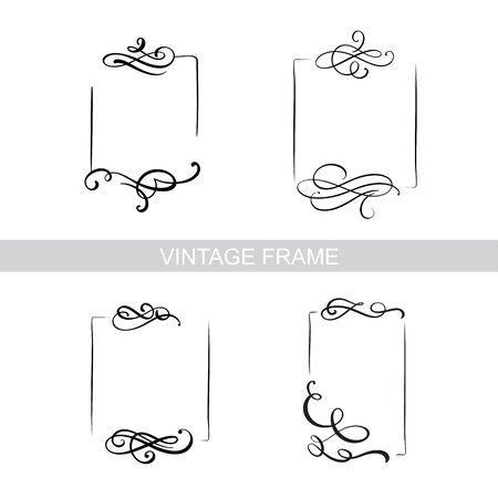 Decorative frame set with old filigree swirls for menu book. Vector ornamental elegant floral vintage borders. Wedding illustration