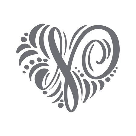Heart love vector Hand Drawn calligraphic scandinavian floral N. Uppercase Hand Lettering Letter H with curl. Wedding Floral Design
