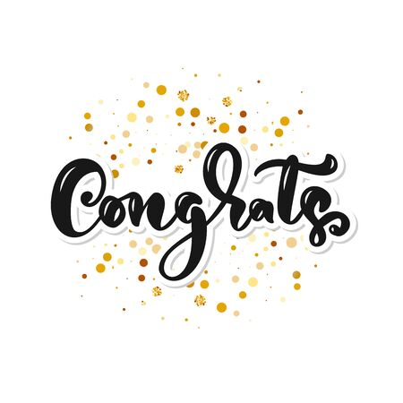 Congrats hand written lettering for congratulations card, greeting card, invitation, poster and print. Modern brush calligraphy. Isolated on background. Vector illustration