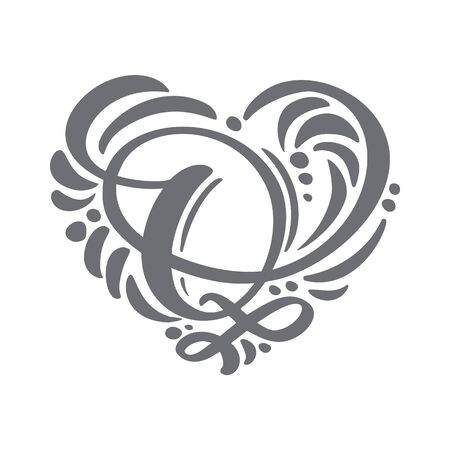 Heart love vector Hand Drawn calligraphic scandinavian floral Q. Uppercase Hand Lettering Letter H with curl. Wedding Floral Design Illustration