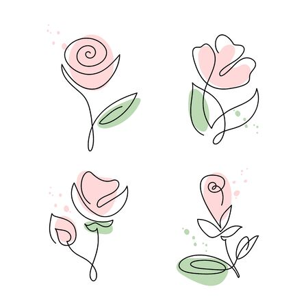 Set of continuous line hand drawing calligraphic vector flower rose. Bundle concept logo beauty. Monoline spring floral design element in minimal style. Valentine love concept