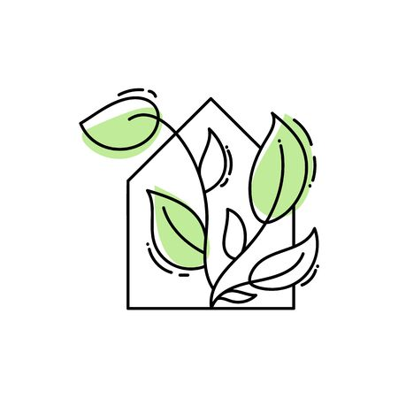 Vector eco house icon with leaves. logo template in black color isolated on white background. Doodle style. Design print poster, symbol decor Illusztráció