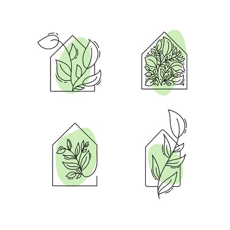 Vector eco house icon with leaves. logo template in black and green color isolated on white background. Doodle style. Design print poster, symbol decor