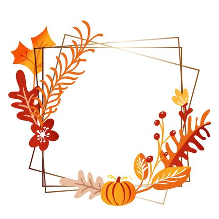 Vector square frame autumn bouquet wreath. Orange leaves, berries and pumpkin isolated on white background with place for text. Perfect for seasonal holidays, Thanksgiving Day.