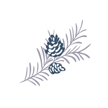 Hand drawn Christmas vector element of pine cone with branch and place for your text. Concept xmas winter holiday for design. Happy New Year  イラスト・ベクター素材