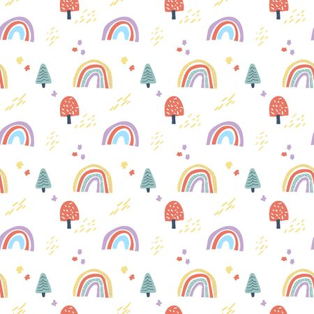Vector scandinavian seamless pattern clouds, rain, sun and rainbow. Cute simple doodle background for children room textile, wallpaper