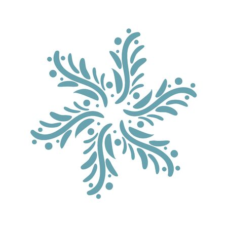 Hand drawn blue Christmas vintage scandinavian snowflake. Xmas decorative design element in retro style, isolated winter vector illustration