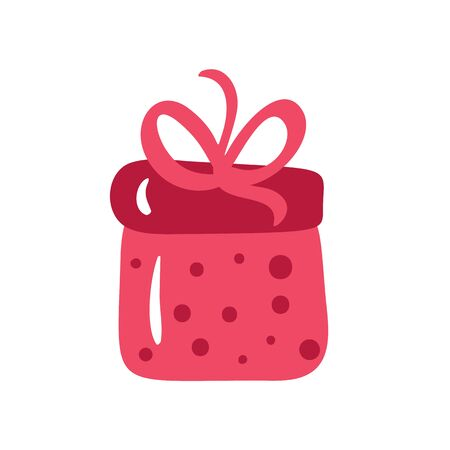 Christmas red gift box with ribbon and bow. Vector illustration scandinavian style isolated on white background Ilustrace