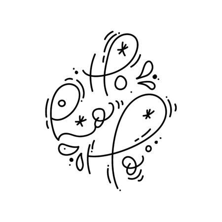 Ho ho ho Christmas calligraphic hand written monoline text. Xmas holidays lettering for greeting card, poster, modern winter season postcard, brochure, wall art design