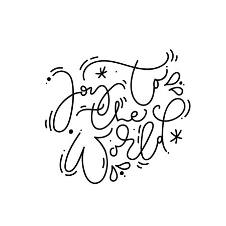 Joy To The World calligraphic hand written monoline text. Christmas holidays lettering for greeting card. Xmas poster, modern winter season postcard, brochure, wall art design Illusztráció