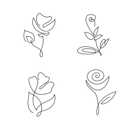 Set of continuous line hand drawing calligraphic vector flowers concept logo beauty. Monoline spring floral design element in minimal style. Valentine love concept Çizim